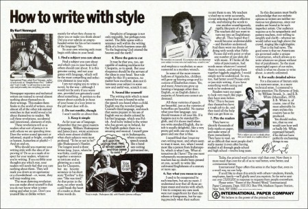 vonnegut on writing